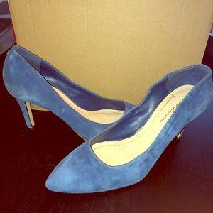 Blue suede pumps